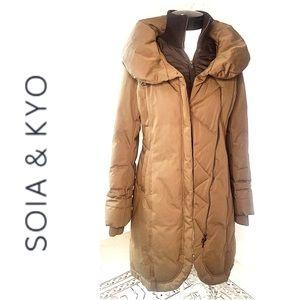 SOIA & KYO Down Puffer Coat Brown long Zip